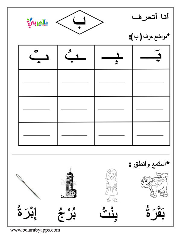 Arabic Letters Worksheets Arabic Letter Beginning Middle End Worksheets ⋆ بالعربي نتعلم