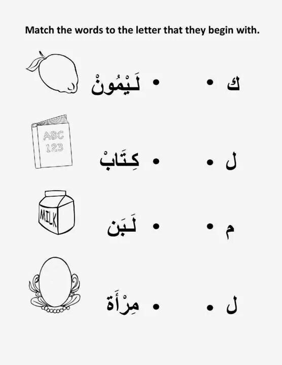Arabic Letters Worksheets بداية الكلمة