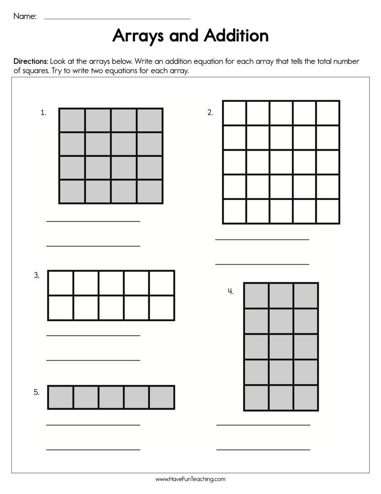 Array Math Worksheets Arrays and Addition Worksheet