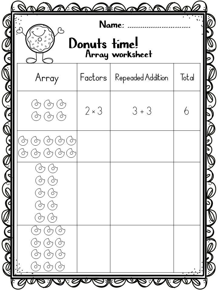 Array Math Worksheets Arrays Worksheets and Games