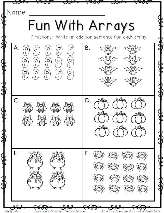 Array Math Worksheets Fun with Arrays