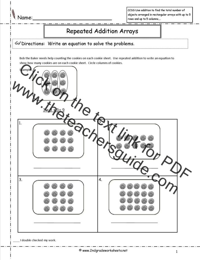 Arrays Worksheets Grade 2 2nd Grade Math Mon Core State Standards Worksheets Second