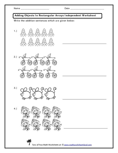 Arrays Worksheets Grade 2 Adding Objects In Rectangular Arrays Independent Worksheet