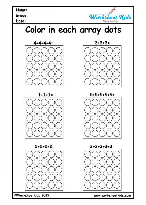 Arrays Worksheets Grade 2 Repeated Addition Arrays Activities for Year 1 2 3 Worksheets