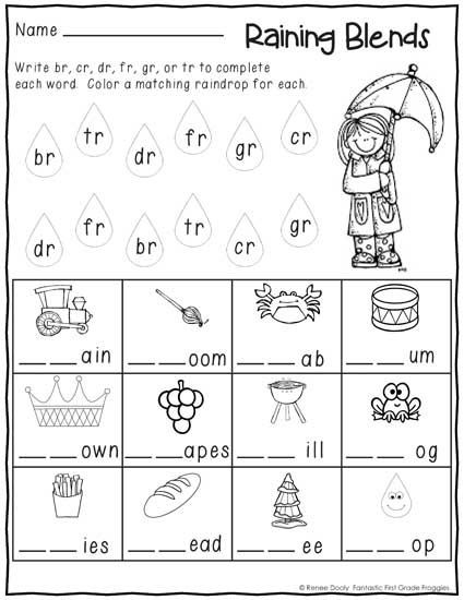 Blending Worksheets 1st Grade No Prep First Grade January Winter Print and Go Morning