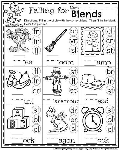 Blends Worksheet for First Grade 1st Grade Math and Literacy Worksheets with A Freebie