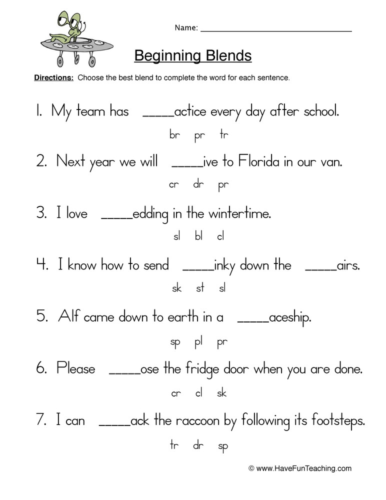 Blends Worksheet for First Grade Beginning Blends Fill In the Blank Worksheet