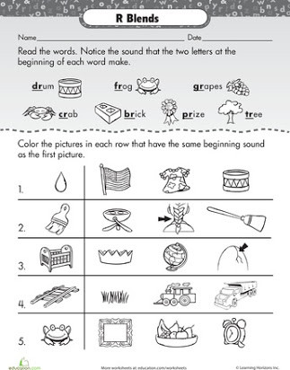 Blends Worksheet for First Grade Free Printable R Blends Worksheets