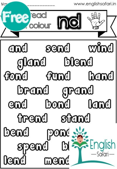 Blends Worksheet for First Grade Nd Words Final Consonant Blend Free