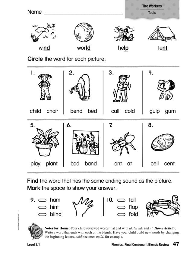 Blends Worksheet for First Grade Phonics Final Consonant Blends Review Worksheet for 1st