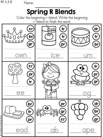 Blends Worksheet for First Grade Spring Literacy Worksheets 1st Grade Distance Learning
