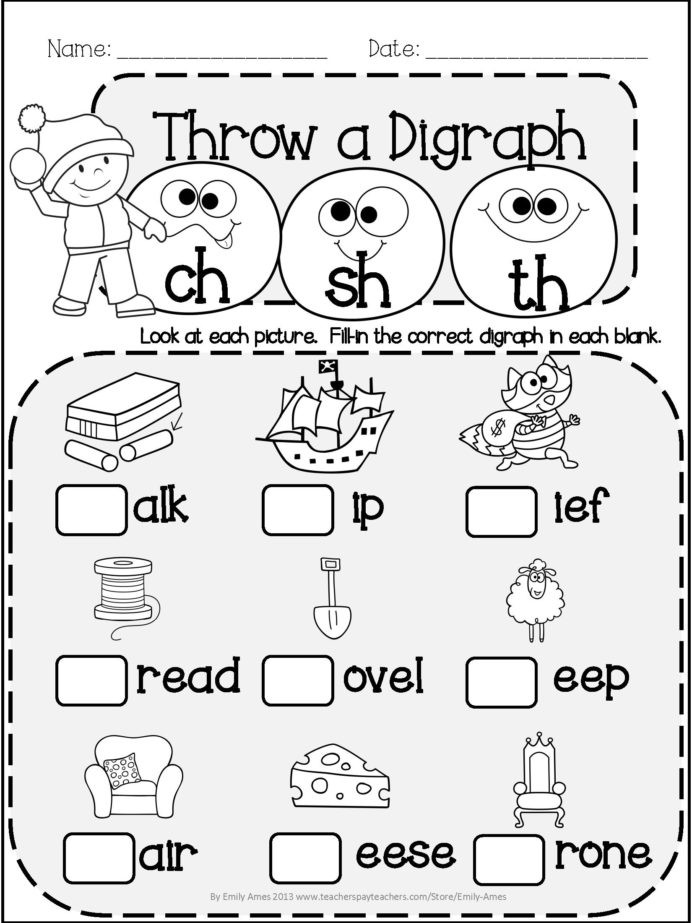Blends Worksheet for First Grade Winter Literacy Fun Short Vowels Digraphs and Blends End