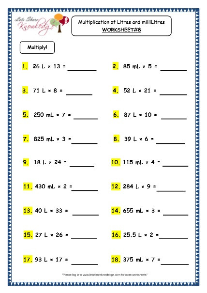 grade 3 maths worksheets 13 5 measurement of capacity multiplication of litres and millilitres