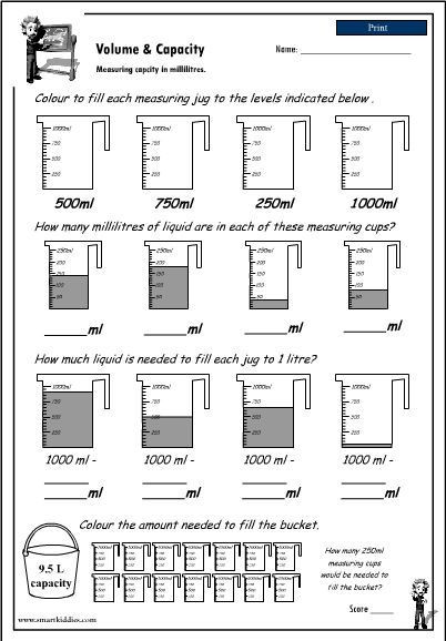 Capacity Maths Worksheets Reading A Measuring Scale to 1000ml to