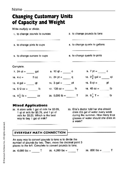 Capacity Worksheets 4th Grade Changing Customary Units Worksheet for 3rd 4th Grade