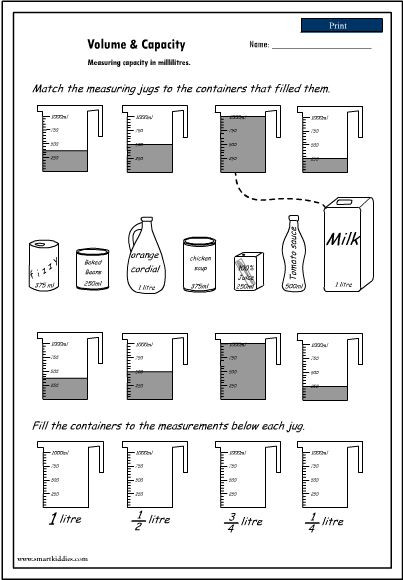 Capacity Worksheets 4th Grade Volume and Capacity Worksheet