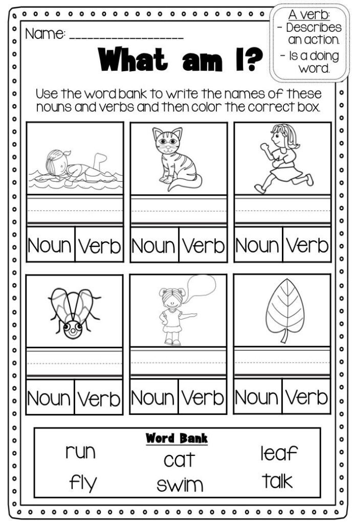 Capacity Worksheets Kindergarten Verbs Printable Worksheet Pack Kindergarten First Second