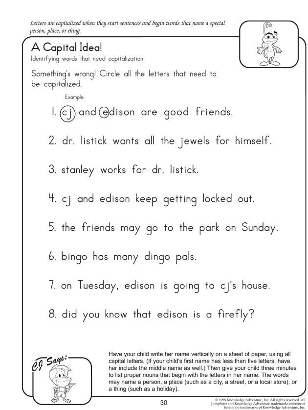 Capitalization Worksheets for 2nd Grade A Capital Idea Fun English Worksheets for Kids