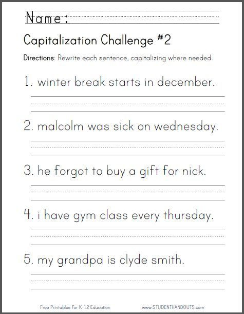 Capitalization Worksheets for 2nd Grade Capitalization Challenge 2 Ccss for First Grade L 1 2 A