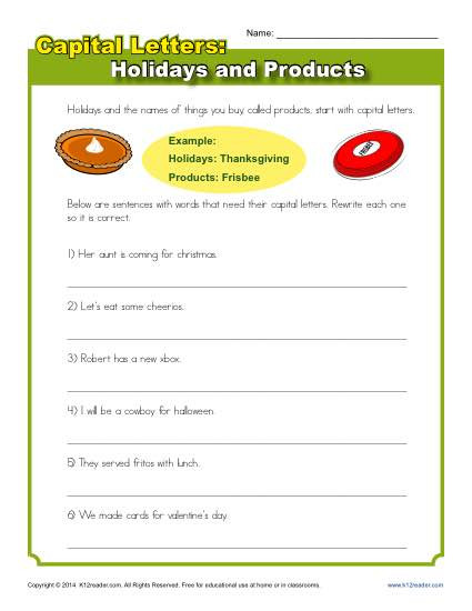 Capitalization Worksheets for 2nd Grade Capitalization Worksheet Holidays and Products Practice