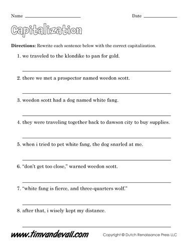 Capitalization Worksheets for 2nd Grade Free Capitalization Worksheets for Kids