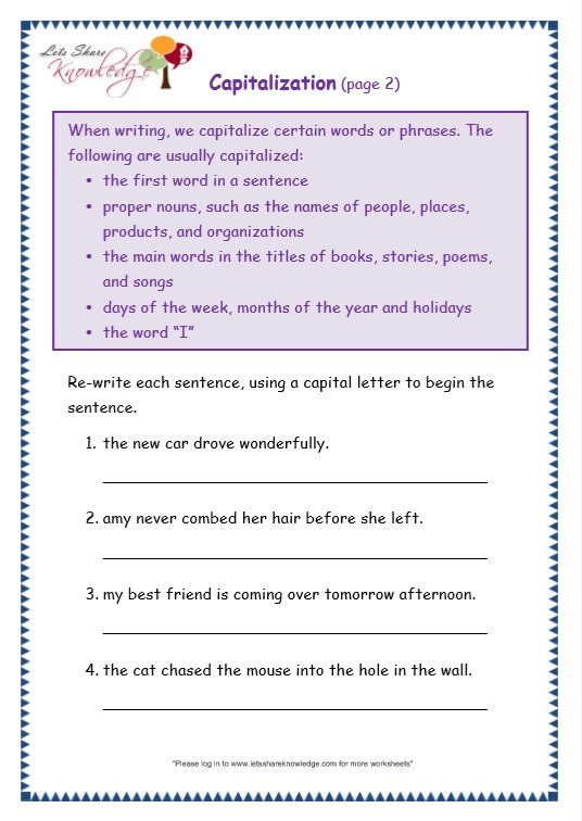 Capitalization Worksheets Grade 1 Grade 3 Grammar topic 29 Capitalization Worksheets