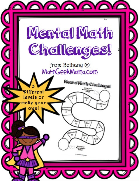 Challenge Math Worksheets Free Mental Math Challenge for Kids Exercise Your Brain