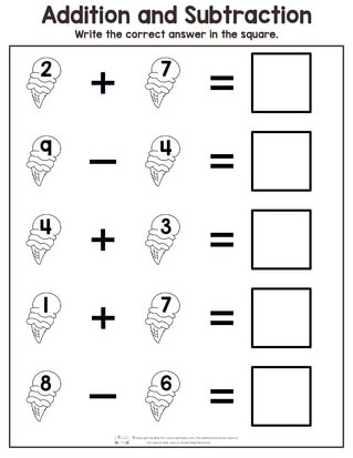 Challenge Math Worksheets Summer Addition and Subtraction Worksheets Itsybitsyfun