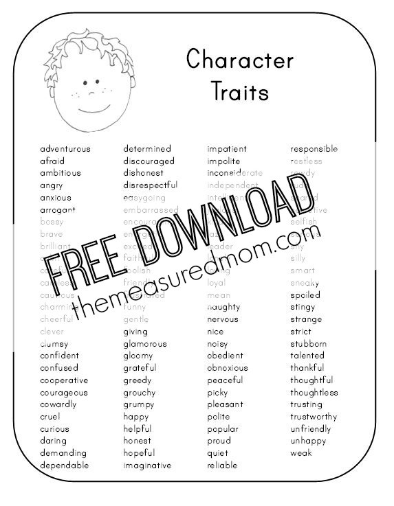 Character Traits Worksheet 2nd Grade Character Analysis Worksheet the Measured Mom