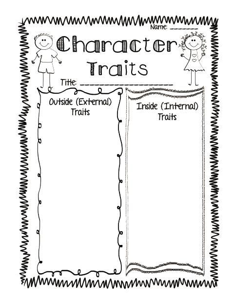 Character Traits Worksheet 2nd Grade Mon Core Aligned Reading Response Printables Plus