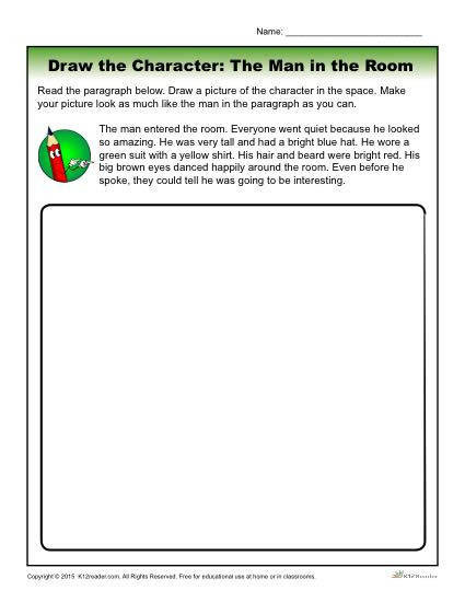 Character Traits Worksheet 2nd Grade the Man In the Room