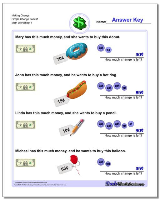 Coin Worksheets for 2nd Grade Money