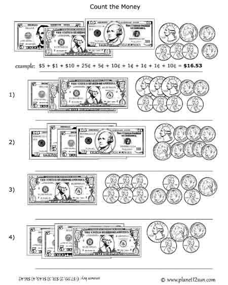 Coin Worksheets for 2nd Grade U S Bills Coins Counting Money Planet12sun Printables