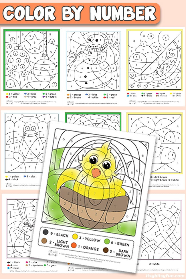 Color by Number Worksheets Kindergarten Free Printable Color by Number Worksheets Itsybitsyfun