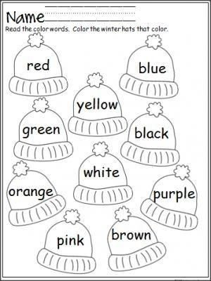Color Word Worksheets for Kindergarten Free Mitten Color Word Practice Great for Pre K and