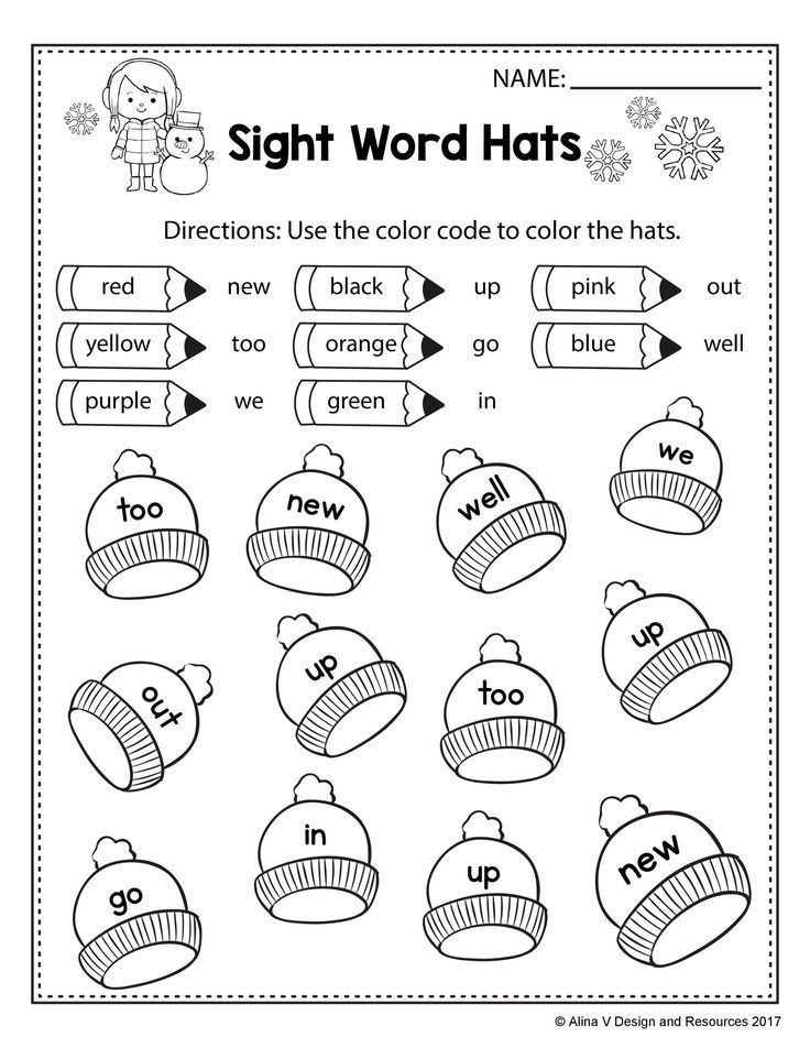 Color Word Worksheets for Kindergarten Free Winter Literacy Worksheet for Kindergarten No Prep