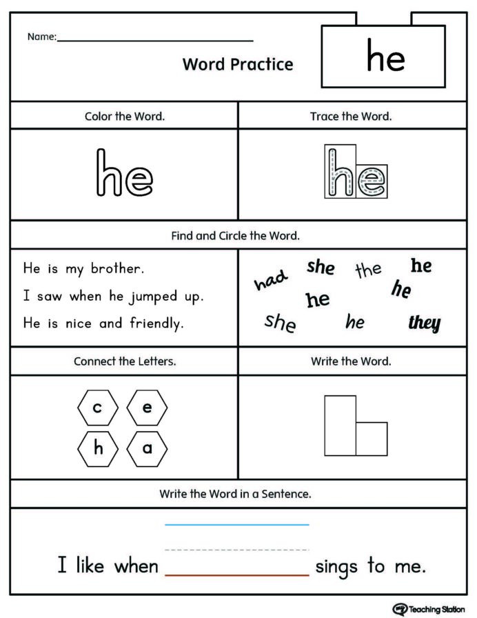 Color Word Worksheets for Kindergarten Kindergarten High Frequency Words Printable Worksheets Sight