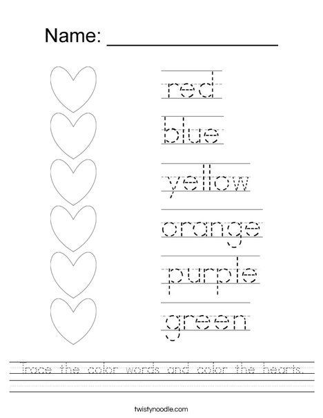 Color Word Worksheets for Kindergarten Trace the Color Words and Color the Hearts Worksheet