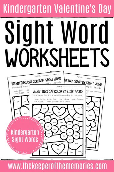 Coloring Sight Words Worksheets Color by Sight Word Valentine S Day Kindergarten Worksheets