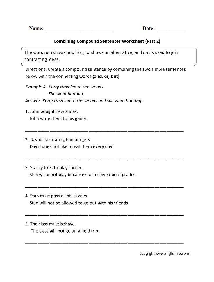 Combining Sentences Worksheet 5th Grade Bining with Pound Sentences Worksheet Part 2