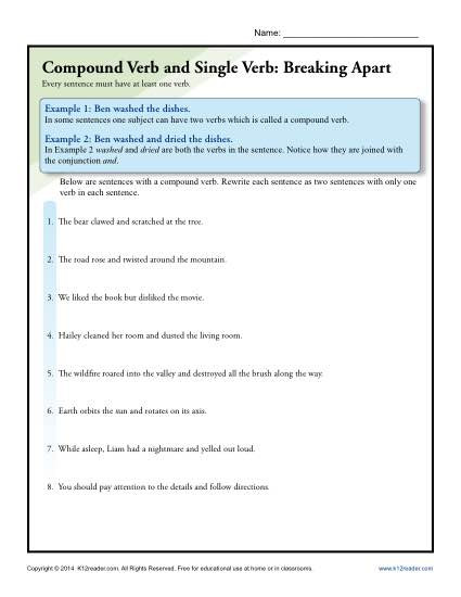 Combining Sentences Worksheet 5th Grade Pound Verb and Single Verb Breaking Apart