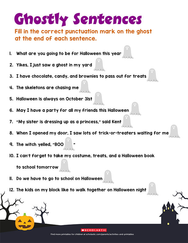 Comma Worksheets 2nd Grade Boo Practice Punctuation with This Ghostly Printable