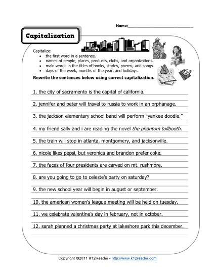Comma Worksheets 2nd Grade Capitalization
