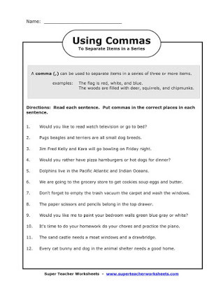 Comma Worksheets 2nd Grade Free Worksheets Mas