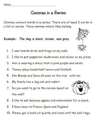 Comma Worksheets 2nd Grade Mas In A Series