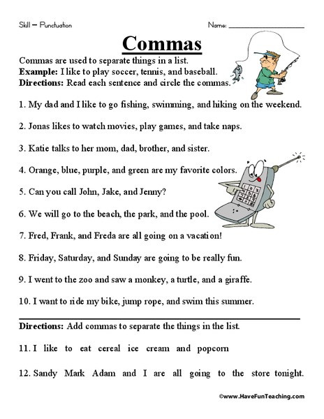Comma Worksheets 2nd Grade Mas Worksheet for 2nd 4th Grade