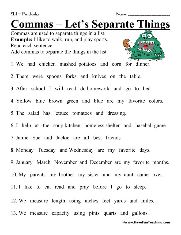 Commas Worksheets 5th Grade Let S Separate Things Ma Worksheet