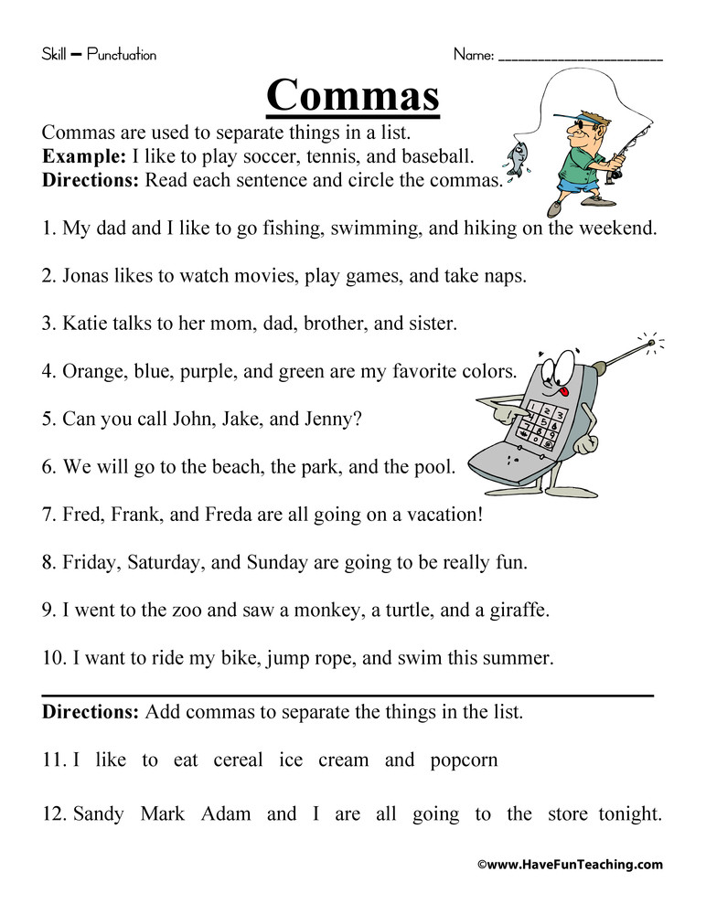 Commas Worksheets 5th Grade Mas In A List Worksheet
