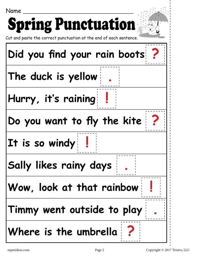 Commas Worksheets 5th Grade Printable Spring Punctuation Worksheet Worksheets Free Ma