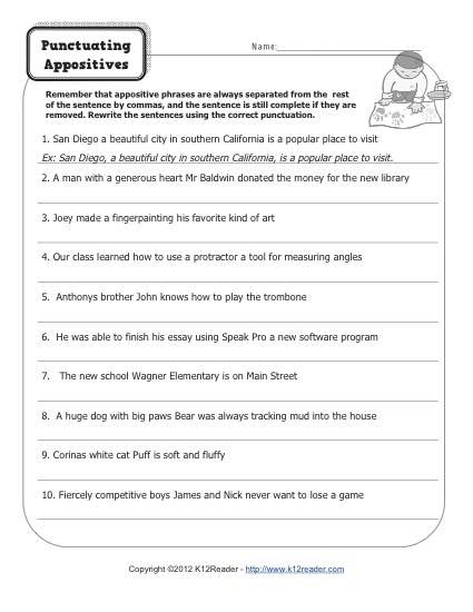 Commas Worksheets 5th Grade Punctuating Appositives